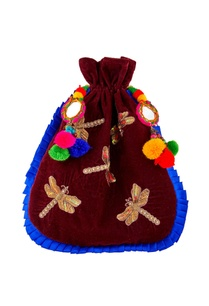burgundy-potli-with-mirror-pom-pom-accents