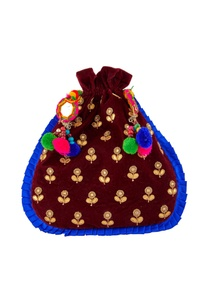 burgundy-potli-with-colorful-pompoms