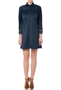 black-shirt-dress-with-embellished-sleeves