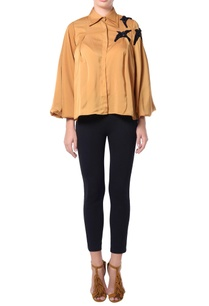 camel-brown-bird-patch-blouse