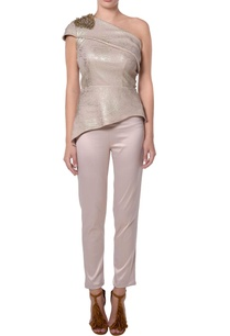 metallic-beige-shimmer-blouse-and-pants