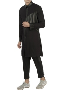black-kurta-with-leather-panels