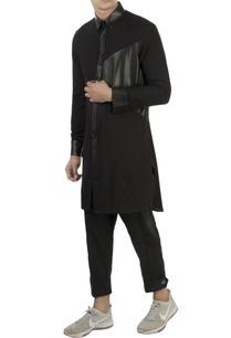 black-kurta-with-leather-panels