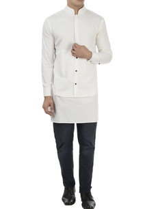 white-high-collar-cotton-shirt