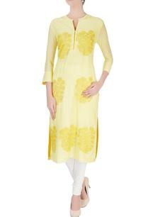 yellow-floral-print-kurta