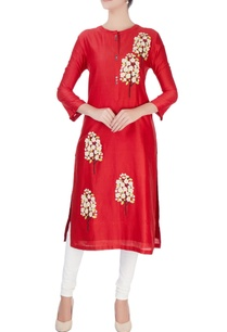 red-tree-motif-midi-kurta