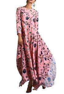 pink-floral-asymmetric-kurta