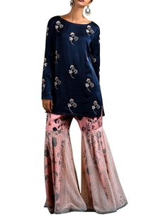 blue-short-kurta-sharara-pants