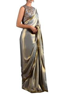 metallic-grey-sari-blouse