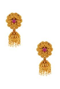 gold-plated-jhumka-peal-earrings