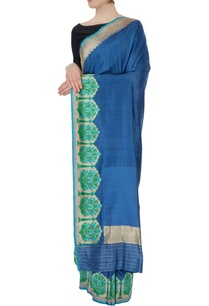 blue-silk-sari-with-blouse-piece