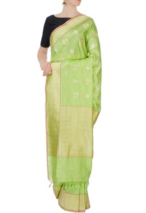 green-silk-zari-sari-blouse-piece