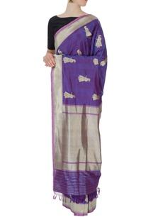 purple-banarasi-silk-sari-with-blouse-piece