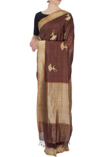brown-banarasi-silk-sari-with-blouse-piece