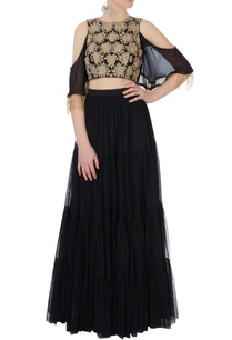 black-embroidered-lehenga-cold-shoulder-blouse