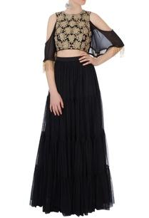 black-embroidered-lehenga-cold-shoulder-blouse