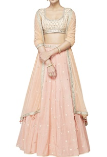 peach-brocade-cotton-silk-lehenga-set