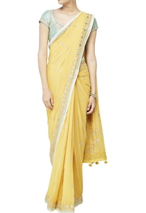 yellow-embroidered-sari-with-blouse-petticoat-piece