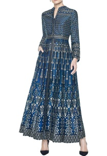 blue-ankle-length-dress-with-mandarin-collar