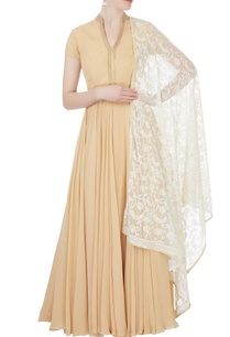 khaki-beige-anarkali-set