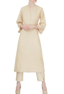 beige-chikan-kurta-with-cigarette-pants