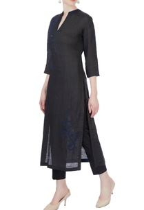 black-chikan-embroidered-kurta-set