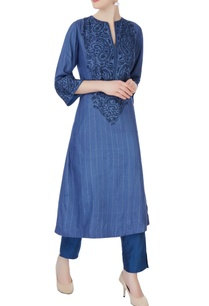 blue-chikan-embroidered-kurta-set