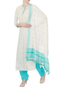 white-blue-chikan-embroidered-kurta-set