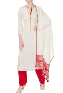 white-red-floral-embroidered-kurta-set
