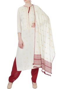white-maroon-floral-kurta-set