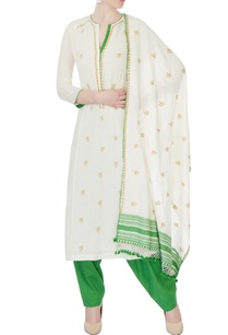 white-green-floral-kurta-set