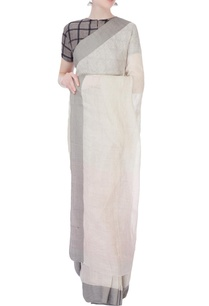 white-linen-sari-with-grey-border