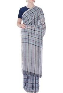 blue-purple-linen-sari