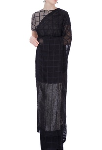 black-sari-in-silk-grid-pattern
