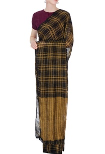 black-yellow-tartan-linen-sari