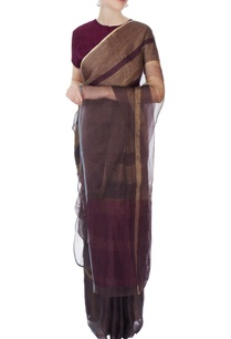 brown-striped-linen-sari