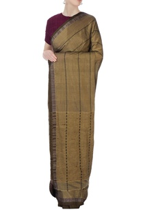brown-silk-sari-with-jacquard-border