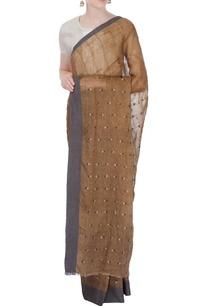 brown-linen-sari-with-grey-border