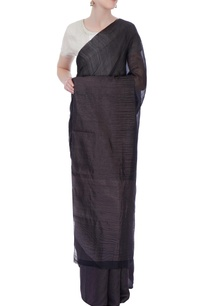 black-grey-silk-sari