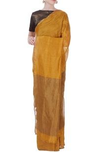gold-shimmer-linen-sari