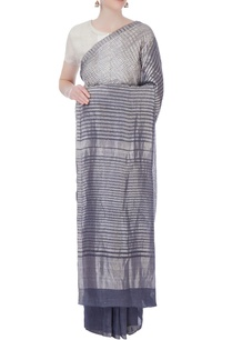 grey-embroidered-linen-sari