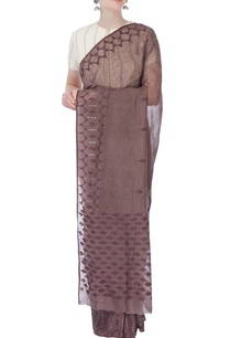brown-linen-sari-with-jamdani-border