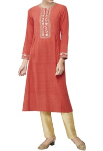 rust-contrast-embroidered-kurta