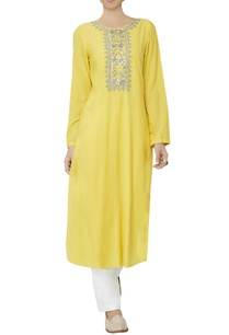 mustard-embroidered-kurta
