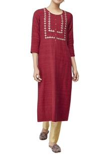 red-embroidered-long-tunic