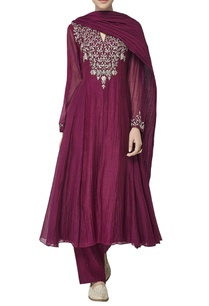 wine-chanderi-silk-kurta-set