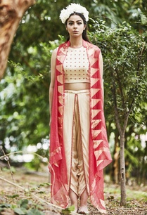 pink-cape-silk-crop-top-with-dhoti-pants