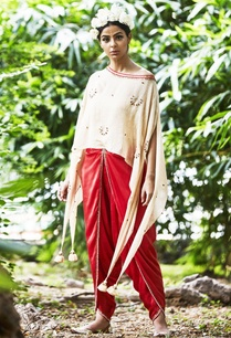 beige-cape-blouse-dhoti-pants