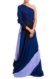 multicolored-one-shoulder-dress
