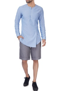grey-linen-formal-shorts